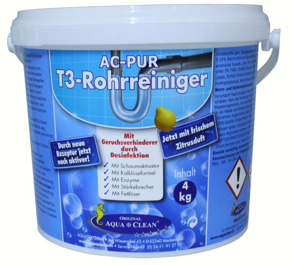 AQUA CLEAN PUR T3 - Rohrreiniger 4 Kg Mit Geruchsverhinderer durch Desinfektion