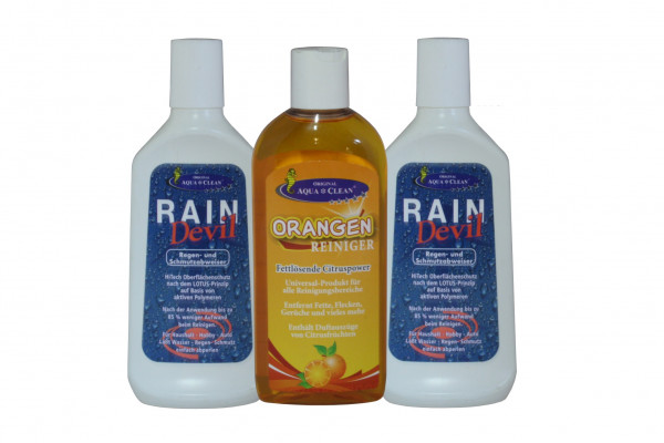 AQUA CLEAN Rain Devil 2x250ml + Orangenreiniger 250ml 3er Set