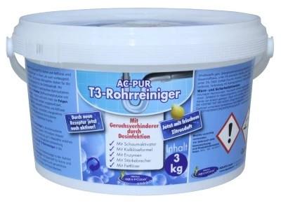AQUA CLEAN PUR T3 Rohrreiniger 3kg mit frischem Zitrusduft & Geruchsverhinderer durch Desinfektion
