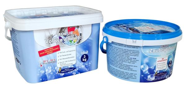 AC PUR Zauberpulver mit Hygieneaktivator 3kg + Vollwaschmittel neu mit Anti-Grauschleier 3kg