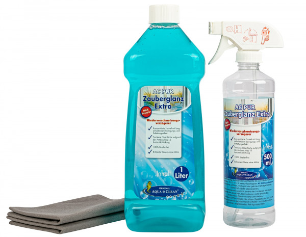 AQUA CLEAN PUR Zauberglanz Extra Fensterreiniger-Gel 1l Konzentrat inkl. 2 Filament-Tücher