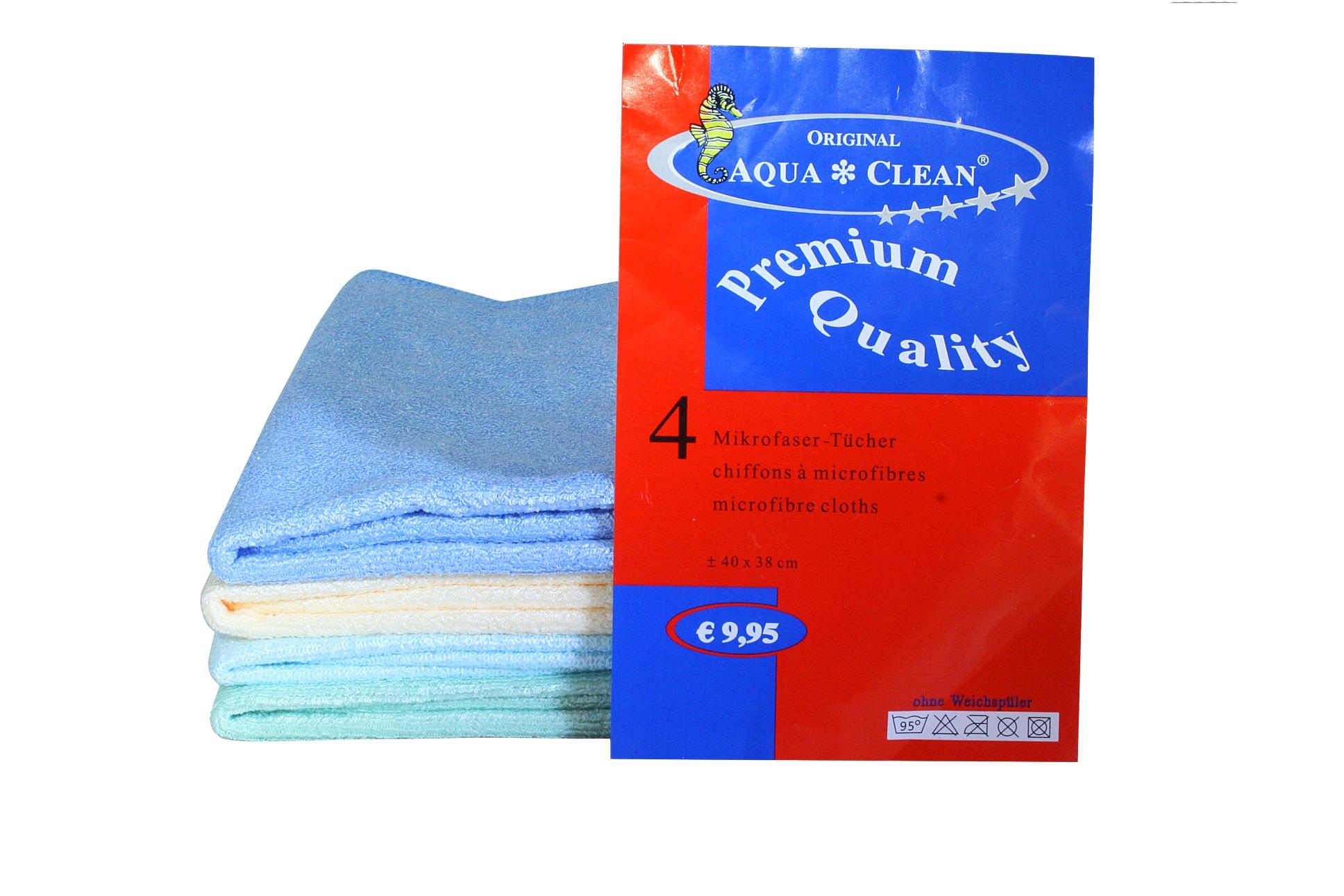 aqua clean microfasertuch premium 4er set aqua clean direkt vom hersteller. Black Bedroom Furniture Sets. Home Design Ideas