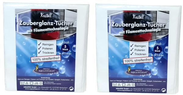 AQUA CLEAN Kristall Zauberglanz-Tücher mit Filamenttechnologie 2x 5er Set