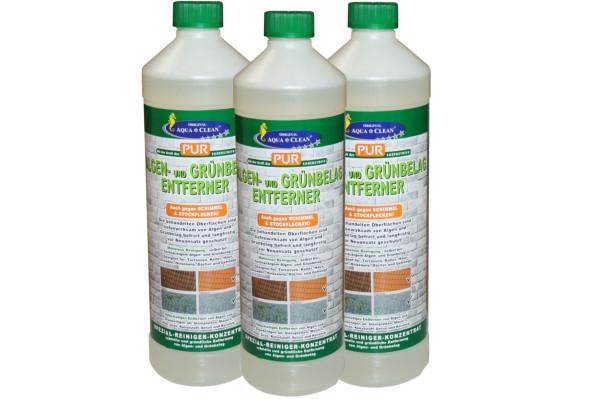 AQUA CLEAN Algen und Grünbelag-Entferner 3x1000ml