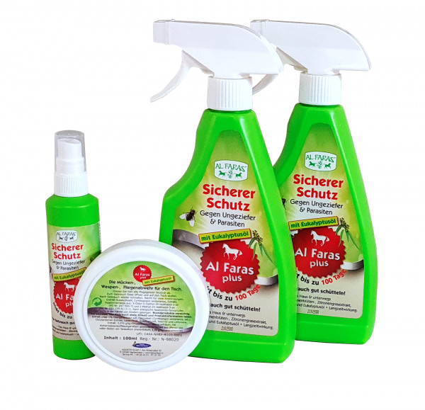 AL FARAS Insektenschutz für Umgebung & Oberflächen ! Neu mit Eukalyptusöl ! 4er Set