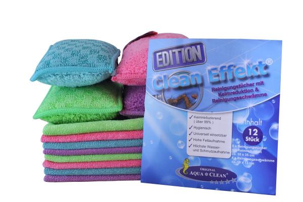 AQUA CLEAN Clean Effekt Reinigungstücher & Schwämm keim- reduzierend, 12tlg.