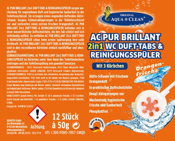 AC PUR Brillant 2in1 WC Duft- & Reinigungsspüler Hochaktiv 12 Stück + 3 Körbchen