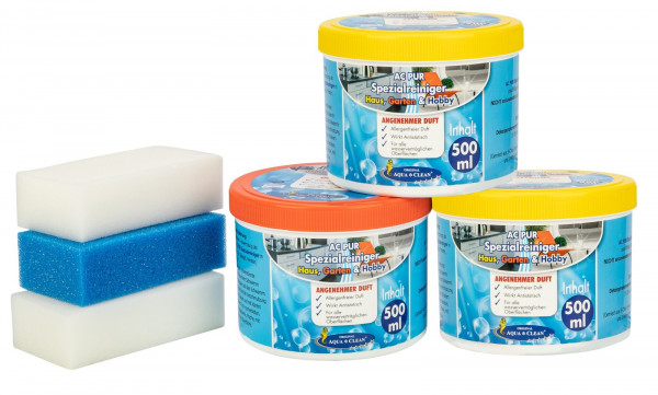 AQUA CLEAN PUR Spezial Reiniger für Haus & Garten mit Frischeduft 3x 500ml
