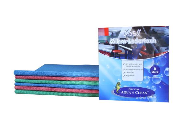 AQUA CLEAN Kristall Mikro-Ledertücher streifenfreier Glanz, 6tlg.