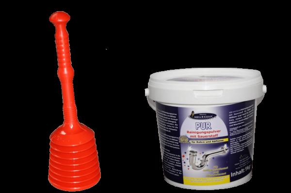 AQUA CLEAN Turbo Rohrfrei Saugglocke & AQUA CLEAN PUR Rohrreiniger 1kg