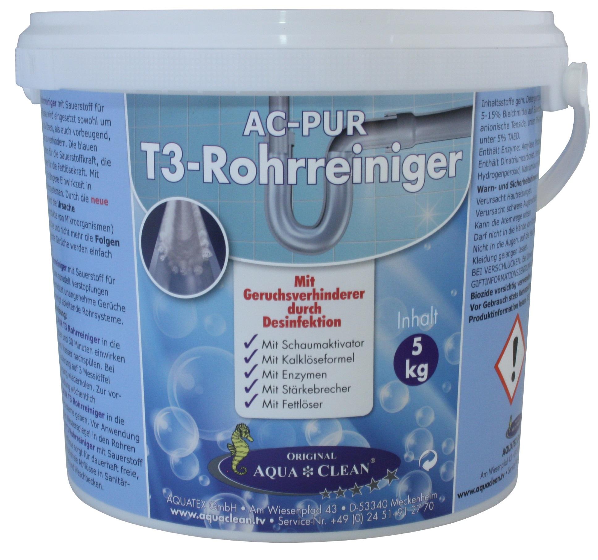 aqua clean pur t3 rohrreiniger 5 kg mit geruchsverhinderer durch desinfektion aqua clean. Black Bedroom Furniture Sets. Home Design Ideas