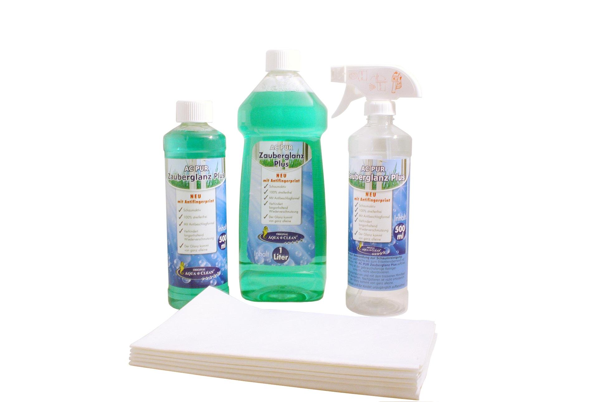 aqua clean pur zauberglanz fensterreiniger anti fingerprint inkl t cher 8tlg aqua clean. Black Bedroom Furniture Sets. Home Design Ideas