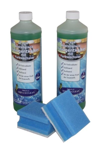 AQUA CLEAN PUR Kristallglanz Flüssigentkalker mit Farbwechsler 4er Set