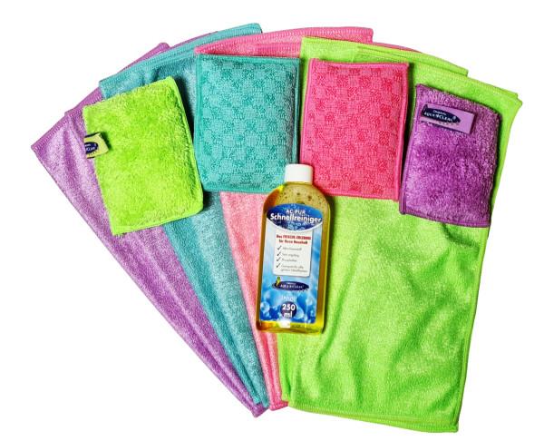AQUA CLEAN Clean Effekt Reinigungstücher/ -schwämme 12 Stck + 250ml Schnellreiniger