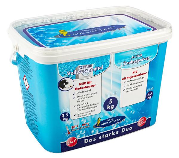 AQUA CLEAN PUR Zauberpulver & Vollwaschmittel mit Fleckenbooster im Kombi-Eimer 2x 2,5kg