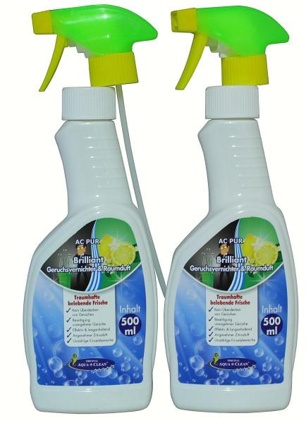AQUA CLEAN Brilliant Geruchsvernichter & Raumduft 2x 500ml