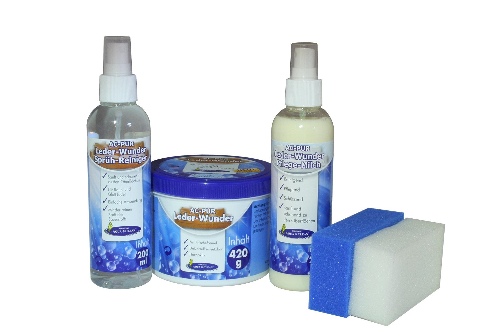 aqua clean pur pflegeset f r alle lederarten reinigt sch tzt pflegt 5 tlg aqua clean. Black Bedroom Furniture Sets. Home Design Ideas