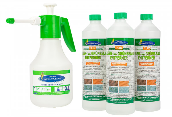 AQUA CLEAN Algen und Grünbelag-Entferner 3x1000ml + Profi-Sprühgerät