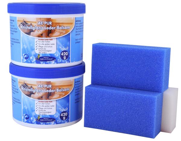 AQUA CLEAN PUR Kristallglanz Leder-Balsam mit Lederduft 2x 420g, inkl. 3 Schwämme